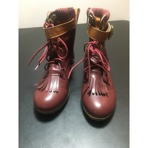 Tommy Hilfiger Girls Burgundy Wedge Bootie Size 3